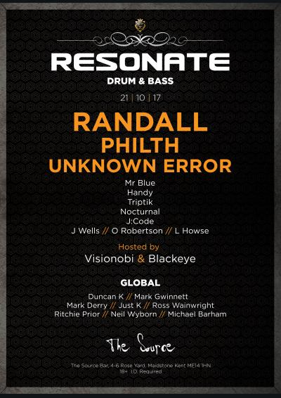 Resonate DNB feat. Randall, Philth & Unknown Error w/ Visionobi & Blackeye Poster