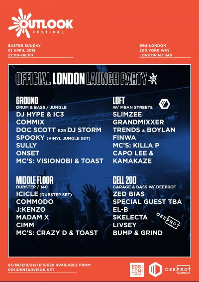 Outlook Festival 2018 London Launch Party Poster