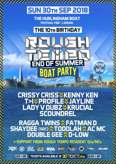 Rough Tempo 10th Birthday / End of Summer Boat Party - London