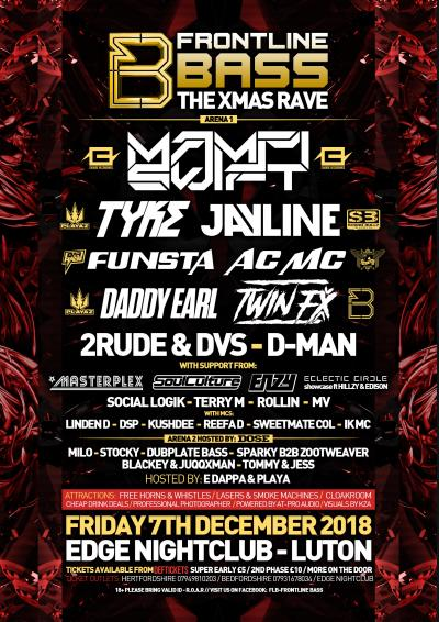 Frontline Bass presents          ❄️❄️   THE XMAS RAVE ❄️❄️ Poster
