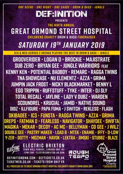 DEF:INITION PRESENTS THE GREAT ORMOND STREET CHARITY D&B FUNDRAISER 2019 Poster