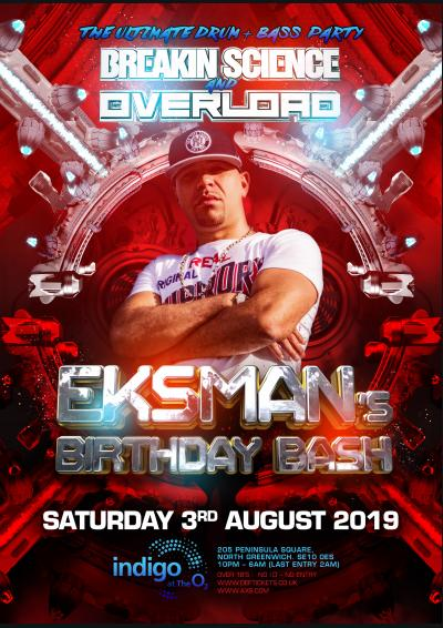 Breakin Science & Overload Present MC Eksman's Birthday Bash : London Poster
