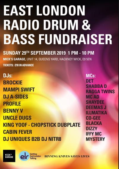 East London Radio Drum & Bass Fundraiser Poster