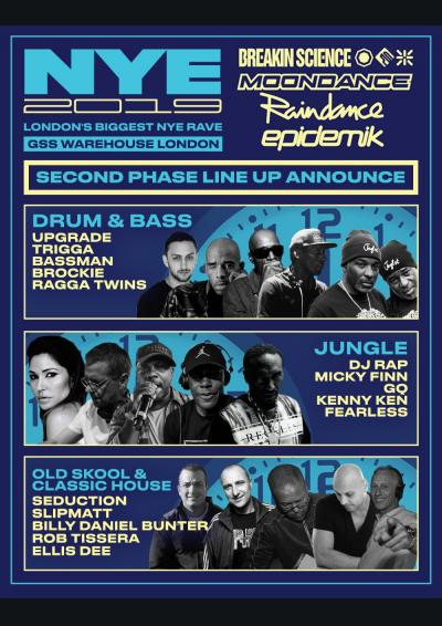 Breakin Science, Moondance, Raindance, Epidemik NYE 2019 Poster