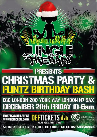 Jungle Therapy Xmas party and Flinty Badman Birthday bash