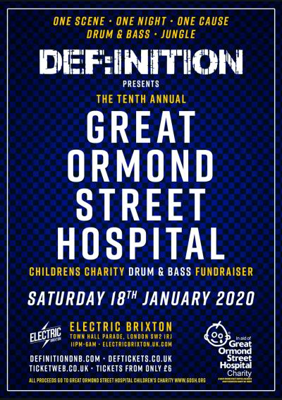 DEF:INITION PRESENTS THE GREAT ORMOND STREET CHARITY D&B FUNDRAISER 2020 Poster